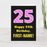 "[ Thumbnail: 25th Birthday: Pink Stripes and Hearts ""25"" + Name Card ]"