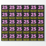 "[ Thumbnail: 25th Birthday: Pink Stripes and Hearts ""25"" + Name Wrapping Paper ]"