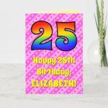 [ Thumbnail: 25th Birthday: Pink Stripes & Hearts, Rainbow # 25 Card ]