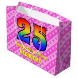 [ Thumbnail: 25th Birthday: Pink Stripes & Hearts, Rainbow # 25 Gift Bag ]