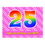 [ Thumbnail: 25th Birthday: Pink Stripes & Hearts, Rainbow 25 Postcard ]
