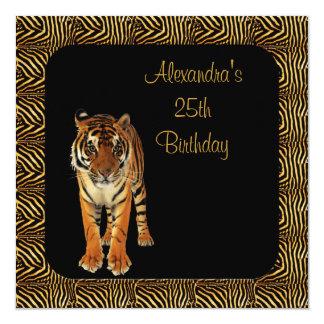 25th Birthday Tiger with Animal Print Frame Card