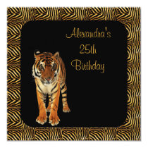 25th Birthday Tiger with Animal Print Frame Invitation