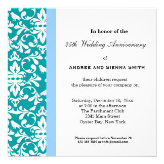 25th Damask Anniversary Personalized Invites