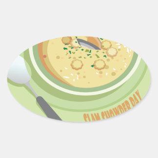 25th February Clam Chowder Day - Appreciation Day Oval Sticker