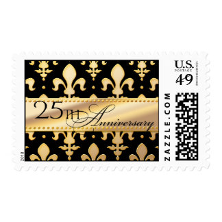 25th, Gold Wedding Anniversary, Fleur de Lis Postage