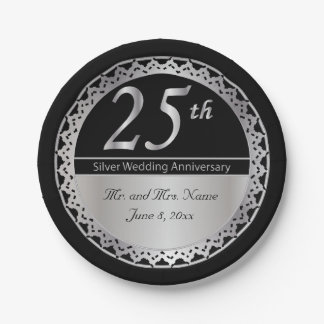 25th Golden Wedding Anniversary Paper Plate