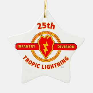 "25TH INFANTRY  DIVISION  ""TROPIC LIGHTNING"" CERAMIC ORNAMENT"