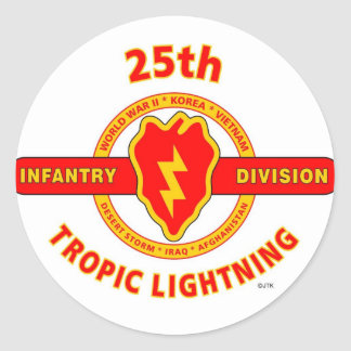 """25TH INFANTRY  DIVISION  """"TROPIC LIGHTNING"""" CLASSIC ROUND STICKER"""