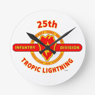 """25TH INFANTRY  DIVISION  """"TROPIC LIGHTNING"""" ROUND WALL CLOCK"""