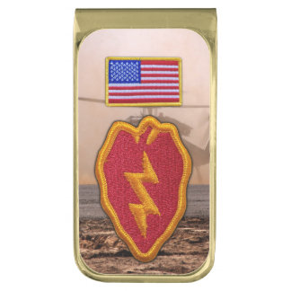 25th infantry division veterans vets patch gold finish money clip