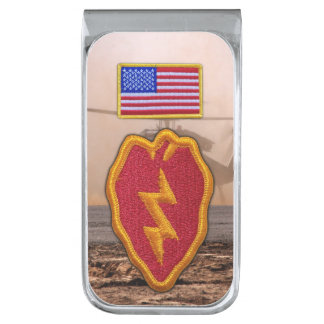 25th infantry division veterans vets patch silver finish money clip