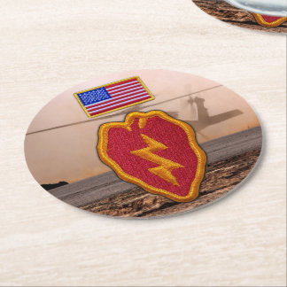 25th infantry division veterans vets round paper coaster