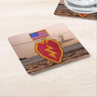 25th infantry division veterans vets square paper coaster