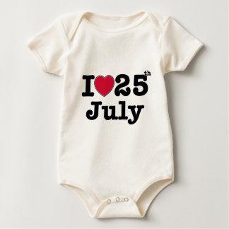 25th  july my day of birthday baby bodysuit