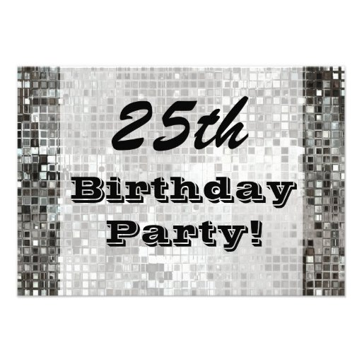 25th Or Any Age Birthday Party Silver Invitation