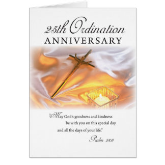 25th Ordination Anniversary, Cross Candle Card