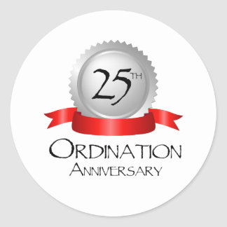 25th Ordination Anniversary Cross Host Classic Round Sticker