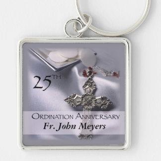 25th Ordination Anniversary Cross Host Silver-Colored Square Keychain