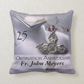 25th Ordination Anniversary Cross Host Throw Pillow