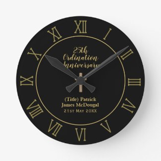 25th Ordination Anniversary Priest Gift Customized Round Clock