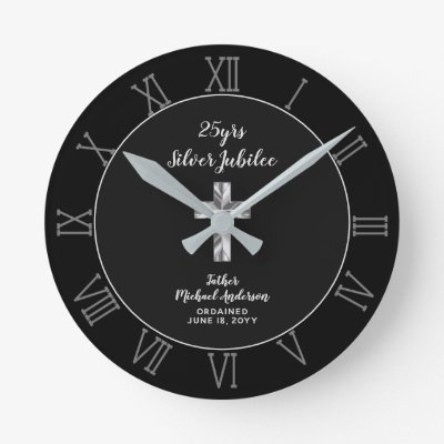25th Ordination Anniversary Priest Silver Jubilee Round Clock