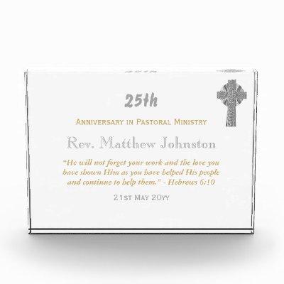 25th Ordination Anniversary Silver Jubilee ANY Acrylic Award