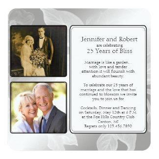 25th Rose Garden Photo Anniversary Invitation