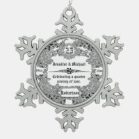 25th Sillver Wedding Anniversary Snowflake Pewter Christmas Ornament