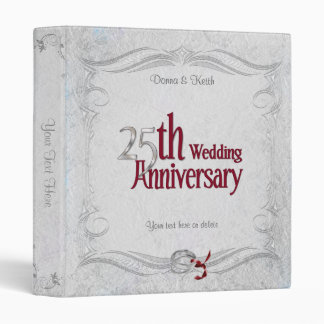 25th Silver and Burgundy Anniversary 3 Ring Binder