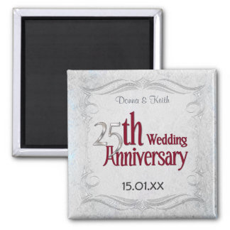 25th Silver and Burgundy Anniversary Magnet
