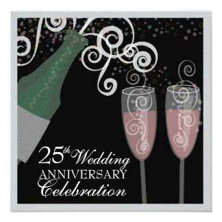 25th Silver Anniversary Bubbly Champagne Party Card