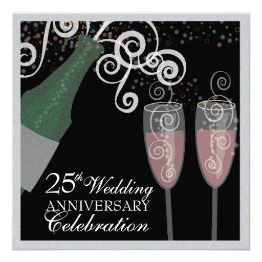 25th Silver Anniversary Bubbly Champagne Party Invite