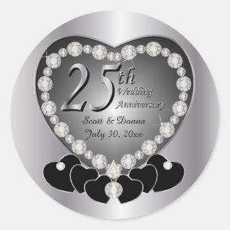 25th Silver Anniversary Classic Round Sticker