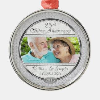 25th Silver Anniversary Cust Photo FrameOrnament Metal Ornament