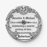25th Silver Anniversary Custom Monogram Paper Plate