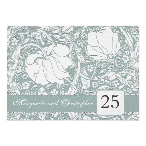 25th silver anniversary floral invitations