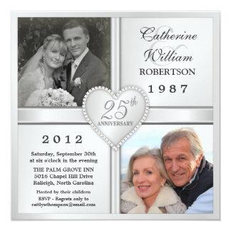 """25th Silver Anniversary Heart Photo Invitations 5.25"""" Square Invitation Card"""