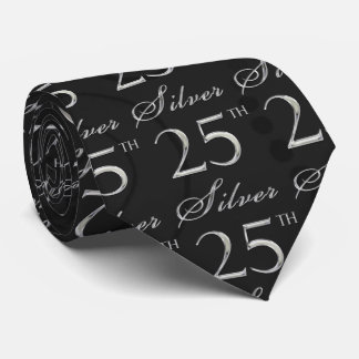 25th Silver Anniversary in Black Damask with Silve Neck Tie