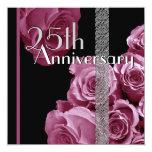 """25th Silver Anniversary Invitation PINK Roses 5.25"""" Square Invitation Card"""