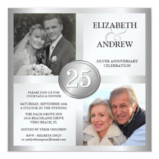 """25th Silver Anniversary Invitations with 2 Photos 5.25"""" Square Invitation Card"""