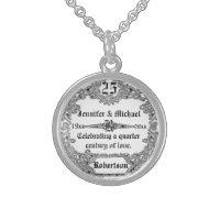 25th Silver Anniversary Monogram Round Pendant Necklace