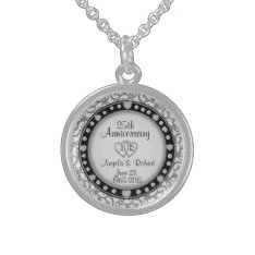 25th Silver Anniversary Monogram Sterling Silver Necklace at Zazzle