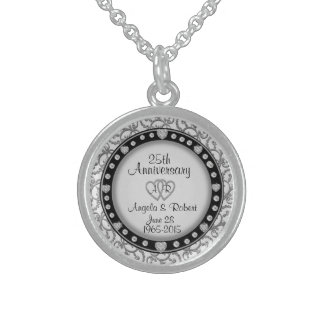 25th Silver Anniversary Monogram Sterling Silver Necklace