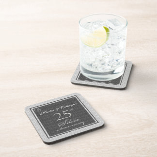 25th Silver Anniversary Personalized Coasters