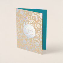 25th Silver Anniversary Real Foil Greeting Cards
