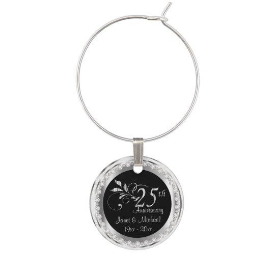 25th Silver Anniversary Wedding Diy Name Date Wine Glass Charm