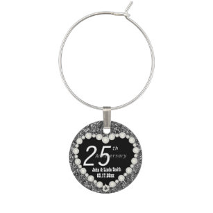 Wedding Anniversary Wine Glass Charms Amp Tags Zazzle