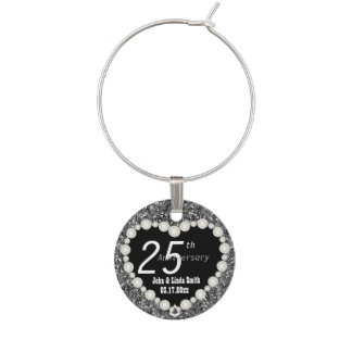 25th Silver Anniversary Wedding | DIY Name & Date Wine Glass Charm