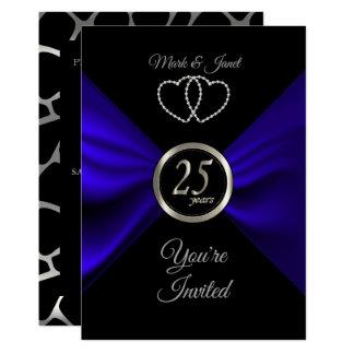 25th Silver Anniversary with Blue Satin Invitation